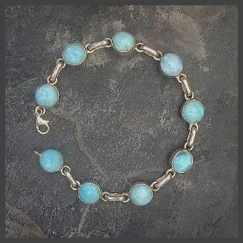 9 Round Stone Larimar Bracelet